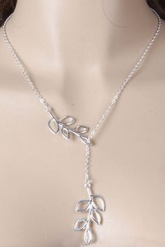 LUCLUC Silver Simple Metal Leaf Short Necklace - LUCLUC