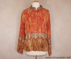 SOFT SURROUNDINGS M Sunset Jacket Coat Art to Wear Hippi Boho Sequins Viscose…