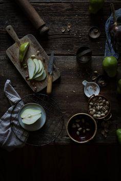 "Local Milk   pear, frangipane & caramel tart from ""top with cinnamon"""