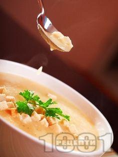 Крем супа с картофи и крутони