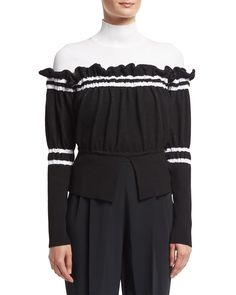 Turtleneck Combo Pullover Sweater W/ Ruffled Trim, Black/White