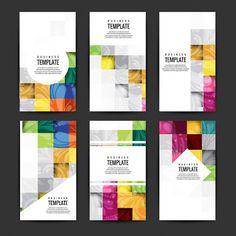 Renkli iş broşürleri set Free Vector indir - Vektörel Çizim indir,Vektörel İndir,Cdr,Corel Draw indir,Vektör indir