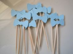 12 blue bow tie toothpicks by papermefancy on Etsy, $3.50