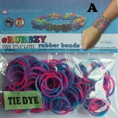 RUBBZY SILICONE TIE DYE RUBBER BANDS FOR RAINBOW LOOM – PINK PURPLE & BLUE MIX | Toys-n-Stuff
