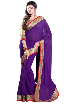 Bollywood event. Purple Faux Georgette Saree with Blouse: SBH597