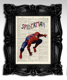 Spiderman - Original art illustration super heroes art print 8x11- Dictionary print page - Comics marvel art print. via Etsy