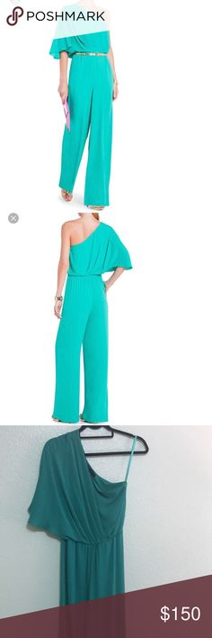 ⛔️CLEAROUT⛔️Bcbgmaxazria jumpsuit Bcbgmaxazria jumpsuit wore once in great condition size 0 color green does not come with belt. NO TRADES BCBGMaxAzria Dresses