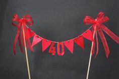 Ruby anniversary cake topper, cake bunting, cake flags, red fabric and metallic hearts, metallic fabric numbers and organza ribbon The Effective Pictures We Offer You About DIY Anniversary for he 40th Anniversary Cakes, Ruby Wedding Anniversary, Anniversary Surprise, Anniversary Decorations, Anniversary Parties, Anniversary Cards, Ruby Wedding Cake, Diy Ribbon, Organza Ribbon