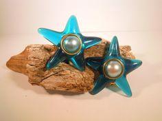 Kitschy Blue Star Earrings Clip On Acrylic by TallulahsVintage