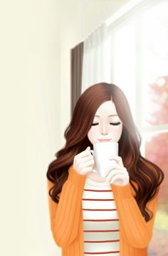 Uploaded by Min. Find images and videos about girl, wallpaper and orange on We Heart It - the app to get lost in what you love. Korean Anime, Korean Art, Cute Cartoon Girl, Cartoon Art, Girly M, Lovely Girl Image, Cute Girl Drawing, Cute Girl Wallpaper, Digital Art Girl