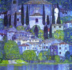 Gustav Klimt. The Church in Cassone (Landscape with Cypress). 1913. oil on canvas.   mmmmm, one I've never seen