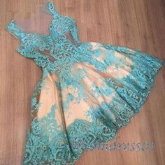 turquoise lace A-line mini short dress with straps