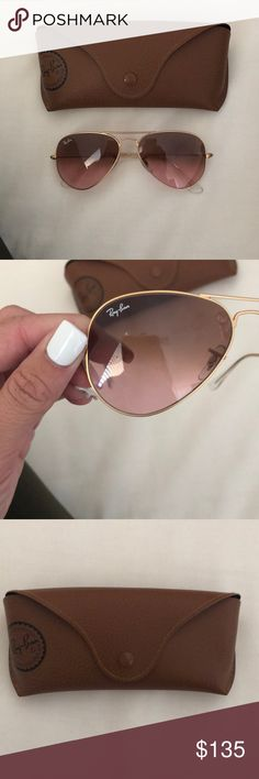 Authentic pink aviator Ray Ban !! With case Really pretty pink aviators Ray Ban sun glasses! Case included and they are 52 mm :) never worn!!! Ray-Ban Accessories Sunglasses