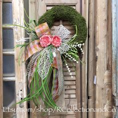 Faux Moss Pink Cabbage Rose Outdoor Wreath, Wreath, Door Wreath, Door Decor, Summer Wreath by RcollectionandCo on Etsy https://www.etsy.com/listing/279135666/faux-moss-pink-cabbage-rose-outdoor