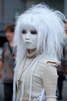 asian goth White hair not plat blonde!!