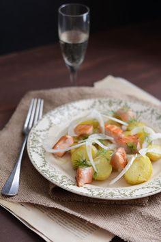 Salade de pommes de terre au saumon et fenouil