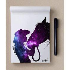 Star themed a Galaxy Painting, Galaxy Art, Beautiful Drawings, Cool Drawings, Galaxy Drawings, Silhouette Painting, Horse Silhouette, Desenho Tattoo, Wow Art