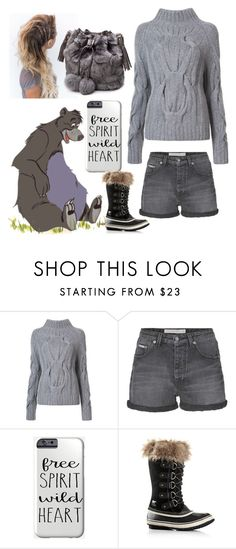 """Furry day out"" by galaxygurl411 ❤ liked on Polyvore featuring Sally Lapointe, Calvin Klein Jeans and SOREL"