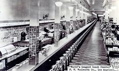 Longest lunch counter in the world..FW Woolworth's 1930