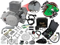 66c 80cc 2-Stroke Electric Start/Pull Start Centrifugal Clutch Bicycle Engine Kit, Flying Horse Bullet Train