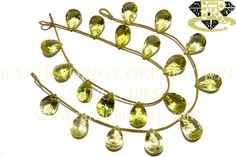 Lemon Quartz Concave Cut Pear (Single Cut) (Quality AA+) Shape: Pear Concave Cut Length: 18 cm Weight Approx: 11 to 13 Grms. Size Approx: 10.5x14 to 11x16 mm Price $36.00 Each Strand