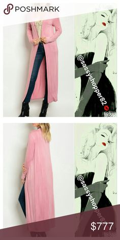 LIGHT MAUVE CARDIGAN / DUSTER Brand new Boutique item  Lovely light weight pink/mauve long sleeve open front long duster.  95% RAYON 5% SPANDEX  # Fall duster vest jacket Sassy Boutique Tops