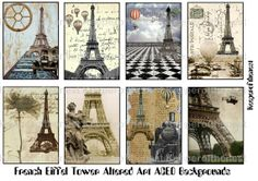 french eiffel tower graphics | French Eiffel Tower Altered Art ACEO Backgrounds Digital Collage Sheet ...