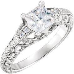 Item #: 651860:104:P A  14kt White 1/10 CTW Diamond Semi-mount Engagement Ring for 6mm Cushion Center   Stuller