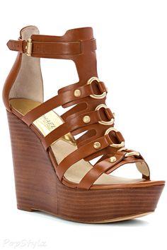 Michael Kors Nadine Wedge Leather Sandal