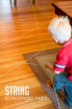 An obstacle course with string for an indoor scavenger hunt for kids! Thread string around the house and use it as to hunt for items attached to it!