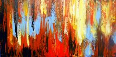 """Original Modern Abstract Fall  Landscape Impasto Textured  Acrylic Painting - 18""""x36""""inches by Kathleen Fenton"""