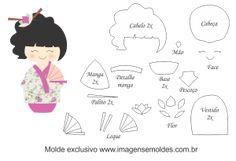 Resultado de imagem para molde kokeshi