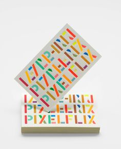 Pixel Fix business card designs! Fun typeface and fun use of colour LOVE!
