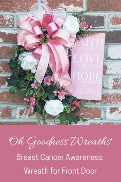 Looking for a way to provide a lil hope and encouragement for a loved one going through Breast Cancer treatment or celebrating being a survivor? This lovely pink and white wreath would make a lovely daily reminder of your love and prayers while giving hope each day for better ones ahead.
