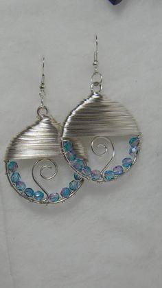 Wire  wrapped hoops with Swarovski crystal by JewelzbyJulzNw, $9.95