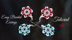 Beaded flower earrings - tutorial