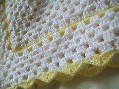 Crochet bebé manta amarillo y blanco