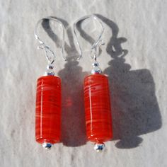 Handmade Red Swirl Glass Tube and Sterling Silver Earrings. Red Earrings. Red Glass Earrings. Red and Sterling Earrings. valentines day gift - pinned by pin4etsy.com