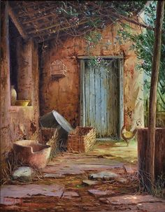 """""""Backyard with Galináceo"""" -- by Tacitus Ibiapina (Brazilian, Landscape Drawings, Watercolor Landscape, Landscape Paintings, Watercolor Paintings, Pictures To Paint, Art Pictures, Photos, Cottage Art, Boat Painting"""