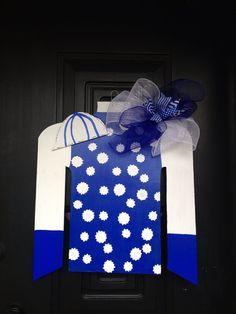 Jockey Silk Door Hanger Wreath Ky Blue