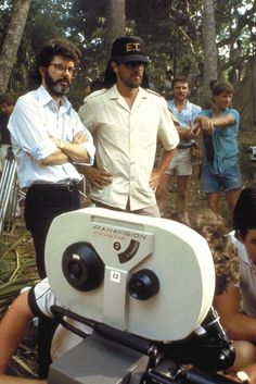 George Lucas and Steven Spielberg on the set ofIndiana Jones and the Temple of Doom(1984)