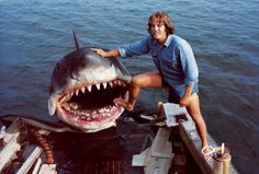 "Behind the scenes of ""Jaws"", Martha's Vineyard. Bruce actually looks like he's smiling for the camera!"