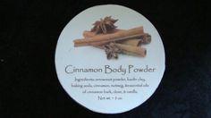 Cinnamon Body Powder, Body Powder, Talc Free Powder, Herbal Powder, Natural Powder, Powder, Dusting Powder, Bath and Body, Christmas Gift/Also another powder by this company is Jasmine lemon sandalwood powder.