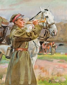 """""""Trumpeter"""", oil on cardboard, x 38 cm, private collection Poland History, Horse Portrait, Equine Art, Military Art, Art Studies, Horse Art, Animal Paintings, Art Gallery, Polish"""