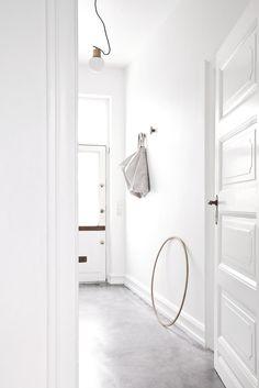 white-interior, concrete floor interior