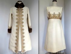 VINTAGE 1960s BEADED EVENING DINNER SUIT IVORY WOOL/SILK COAT & DRESS MINK