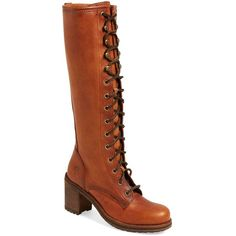 """Frye 'Karen' Lace Up Tall Boot, 2 3/4"""" heel ($428) ❤ liked on Polyvore featuring shoes, boots, cognac leather, knee-high boots, tall leather boots, leather lace up boots, frye boots, leather boots and leather knee high lace up boots"""