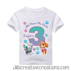 Paw Patrol T-Shirt. If you have any questions placing an order please feel free o contact us jillsinvitations@gmail.com LIKE US ON FACEBOOK: https://www.facebook.com/groups/jillscreativecreations/ TOD