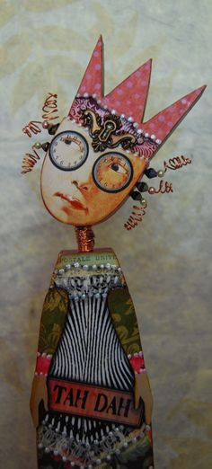 Altered Art Doll  Tickled Pink by desertdreamstudios on Etsy