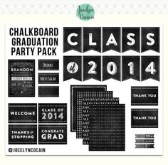 This graduation party pack based on the chalkboard theme helps make party decorating a breeze. $20.50 for the digital download. Add some balloons and flowers and you've got your party decor.